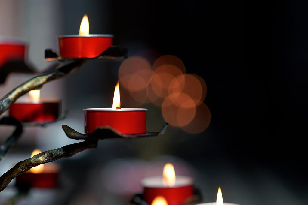 candles against dark background